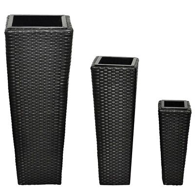 # Black 3 pc Wicker PE Planter Box Furniture Garden Pot Plant Patio Flower Set