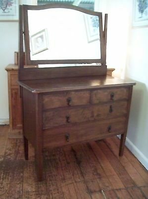Vintage Wooden Dressing Table with Mirror