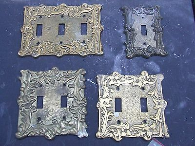 4 HEAVY BRASS LIGHT SWITCH  COVERS  VINTAGE ORNATE.3 made in japan! 1950'-60's?