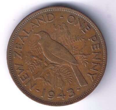 1943 New Zealand 1 Penny Coin One pence cent NZ World War Two WWII WW2 Relic !