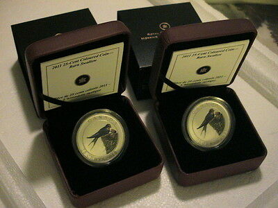 (2) TWO 2011 CANADA 25 Cents Birds of Canada - Barn Swallow ~ NICE COINS ~