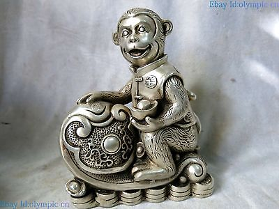 China silver carved beautiful wealth Yuan Bao lucky Monkey sculpture Statue