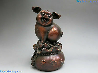 China sculpture carved fine red copper Feng Shui Yuan bao lucky pig Statue
