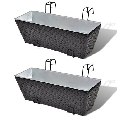 # 2 pc Black 50cm Wicker Rattan Balcony Planter Hanging Box Plant Flower Pot Set