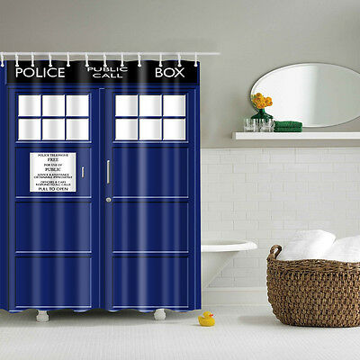 "60x72"" TARDIS Doctor Who Shower Curtain Fabric Durable Waterproof Shower Curtain"