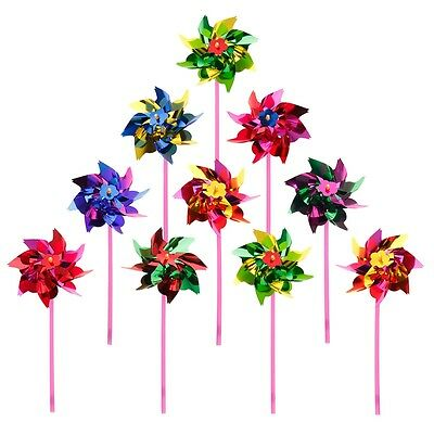 10x Plastic Windmill Pinwheel Wind Spinner Kids Toy Garden Lawn Party Decor New