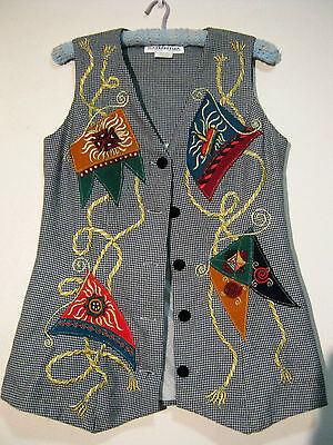 Unique 80S Embellished Houndstooth Vest. Sz 10.