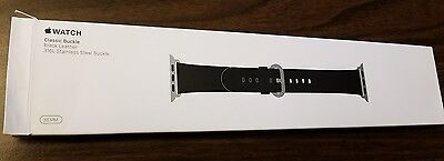 100%Genuine, original Apple Watch classic buckle 38mm black leather band.