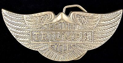Rare Vtg NOS 1970s Triumph Motorcycle Company Solid Brass Wing Logo Belt Buckle