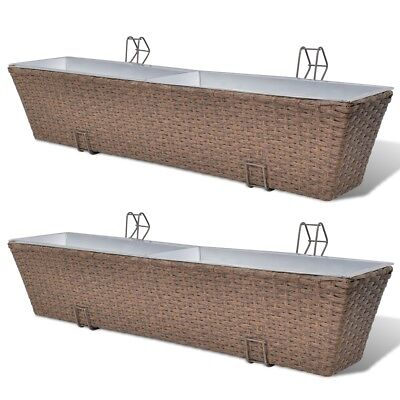 # 2 pc Brown 80cm Wicker Rattan Balcony Planter Hanging Box Plant Flower Pot Set