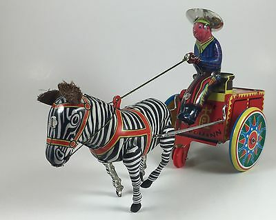 Vintage Lehmann 1881 Galop 852 Zebra Pulled Cowboy Cart China Reproduction