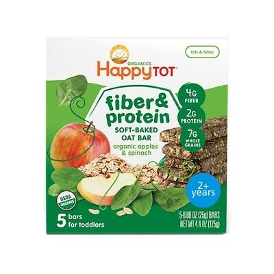 NEW  Happy Baby Organic Apple & Spinach Oat Bars (5 Bars)