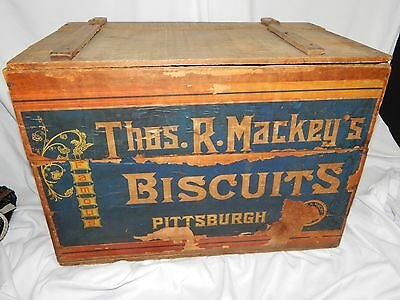 Antique Thos. R. Mackey's Famous Biscuit Pittsburgh Advertising wooden box crate