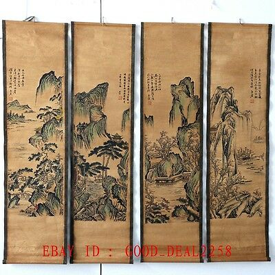 A Set Of 4 Pieces ,Old  Scroll Chinese  Ink And Wash Painting & Calligraphy