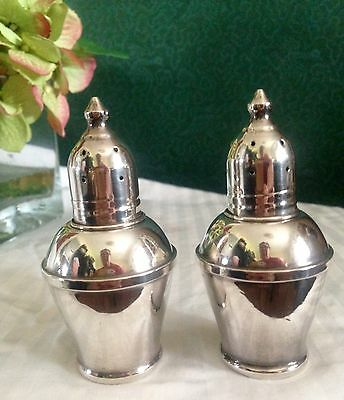 "Authentic Beautiful Sterling Silver Weighted Salt Pepper Shakers 3 3/8"" Tall"