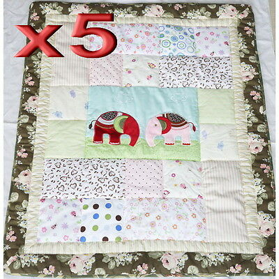 5pc Wholesale Baby Cot Quilt Cotton Patchwork Blanket Elephant Comforter