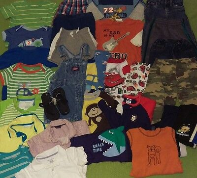 Toddler boy's 18 month clothing lot 30+ pieces shorts jeans shirts pajamas flops