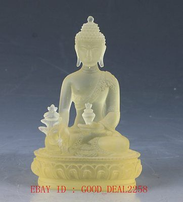 Chinese Glass Handwork Carved  Buddha Statue  QW0364