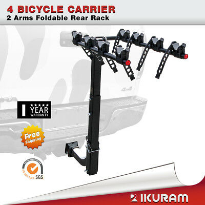 "4 Bicycle Car Bike Carrier Rack 2""Inch Hitch Mount 2 Arms Foldable Rear Lockable"