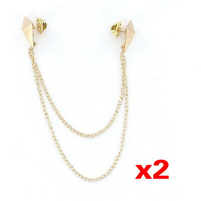 2Pcs  Punk Brooch Collar Chain Necklace Collar Clip---Gold V9W6