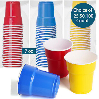7oz Plastic Disposable Red Party Cups (Beer Pong)RED BLUE YELLOW individual pack