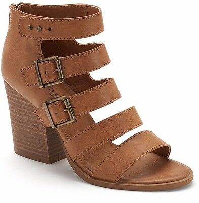 c92bac14089 MUDD Women s Gladiator Sandals Cognac Size 10 Med Buckles Zipper NWOB