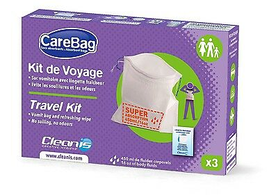 Cleanis CareBag Travel Kit for Travel Sickness with Super Absorbent Pad