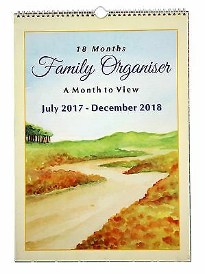 2017-2018 Monthly Planner Academic/Mid Year Family Calendar, July-17 to Dec-2018
