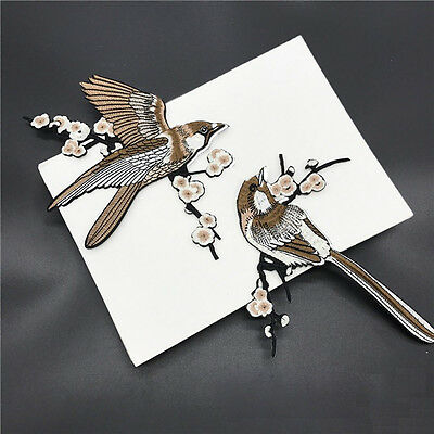 1Pair Bird Embroidered Patches Iron on Sewing for clothes embroidery DIY Sticker