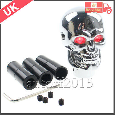 UK STOCK Universal Car 3D Skull head Manual Gear Stick Shift Knob Red LED