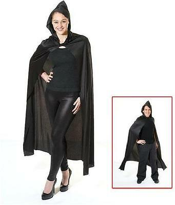 Cape. Long Hooded. Black (Halloween Fancy Dress)