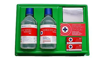 Qualicare eye Qare Sterile Eye Wash Wall Kit with Mirror & Sign (2 x 500ml)