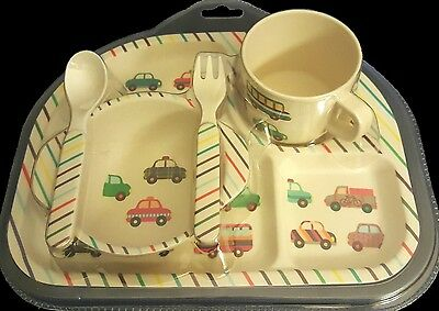 NEW Child's 5 piece Tableware Set includes: Plate, Mug, Bowl, Spoon and Fork