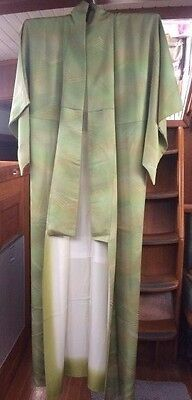 FAB GREEN VINTAGE SILK JAPANESE FULL LENGTH KIMONO CIRCA: 60's-80's