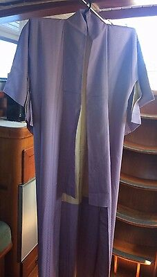 Lovely Lilac Patterned Vintage Silk Japanese Full Length Kimono