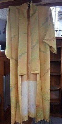 FAB YELLOW CLOUD VINTAGE SILK JAPANESE FULL LENGTH KIMONO CIRCA 60's-80's