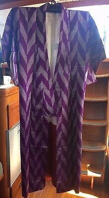 Two Tone Purple Patterned Vintage Silk Japanese Full Length Kimono