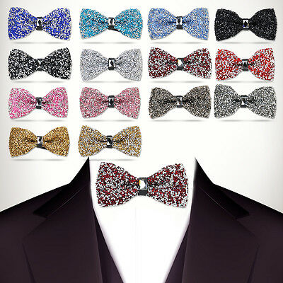 Adjustable Men Boy Stylish Tie Glitter Crystal Rhinestone Sparkle Tuxedo Bow tie