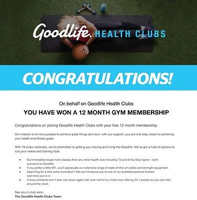 12 Month Goodlife Gym Membership Voucher