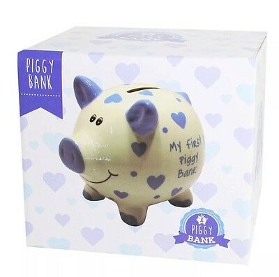Piggy Bank Baby's 1st Baby Boy Blue Money Box Christening New Baby Gift SALE