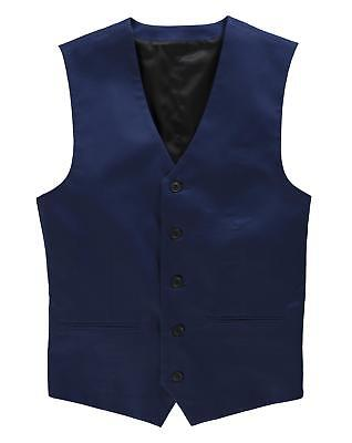 Mens Black Label By Jacamo Madrid Cotton Waistcoat in Blue