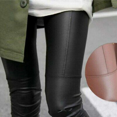 Women High Waist Leggings Stretchy PU Leather Trousers Slim Pencil Pants AU