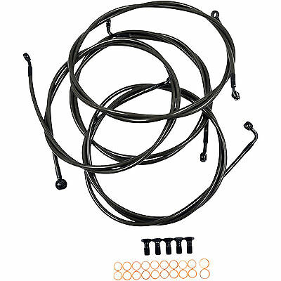 L.A. Choppers Midnight Series Brake Line Kit/Handlebar Cable Extended for