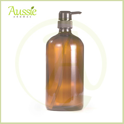 1Litre Amber Glass Bottle With Black Lotion Pump (Set Of 2) With Labels & Pen