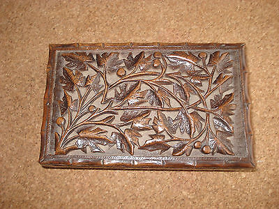 Old Deep Carved Wooden Box.