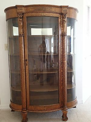 Antique Tiger Oak Bowed Glass Curio China Cabinet c. 1900