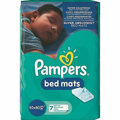 7 x Pampers Super Absorbent Baby Toddler Bed Mats, Waterproof Backsheet, 80x90cm