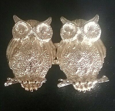 Vintage 70s  Pair of Gold Owls Belt Buckle Very Cool!