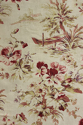 Antique French half curtain panel rowboat and floral design ~ LOVELY c1900