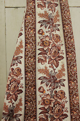 Antique French madder brown fabric c1880 ~ LOVELY printed cotton material floral